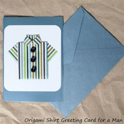 Handmade Fathers Day Cards - origami shirt a handmade greeting card for a