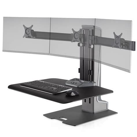3 monitor standing desk winston e sit stand workstation triple monitor mount wnste 3