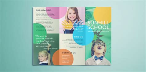 School Brochure Template Free by Colorful School Brochure Tri Fold Template Free