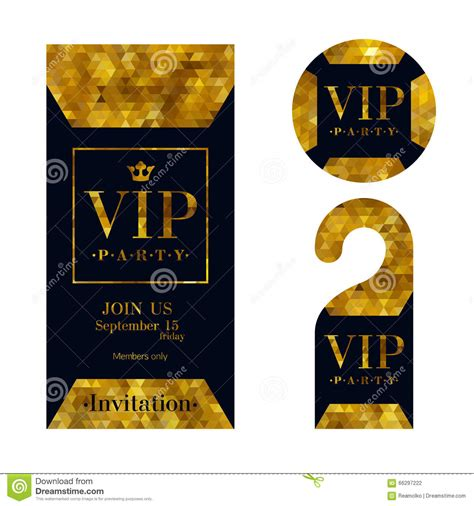 Vip Invitation Card Warning Hanger And Badge Stock Vector Illustration Of Label Emblem Vip Badge Template