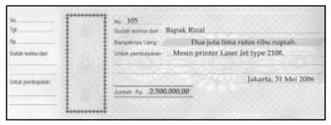Berbagai Jenis Kwitansi pengertian klasifikasi transaksi keuangan dan jenis jenis beserta contoh bukti transaksi memo