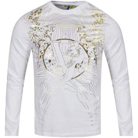 gold pattern shirt versace jeans versace jeans white gold pattern ls t shirt