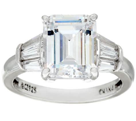 diamonique emerald cut ring platinum clad j326520 qvc