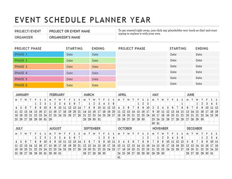 event planning calendar template event planner office templates