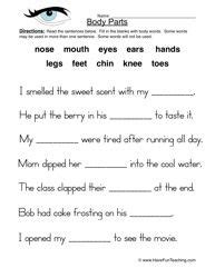 Body Parts Worksheet Fill In The Blanks My Creativity