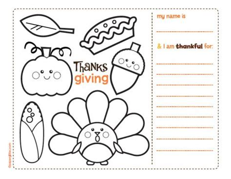 thanksgiving coloring page placemat 5 best images of free printable thanksgiving activity