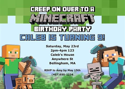 minecraft party invitations template birthday invites excellent