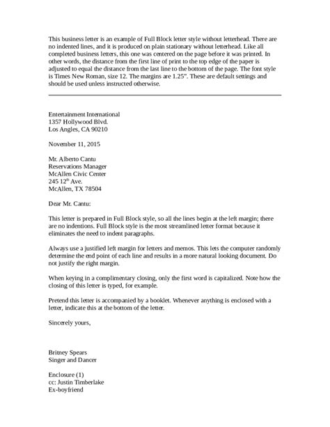 exle letter inquiry block style cover letter