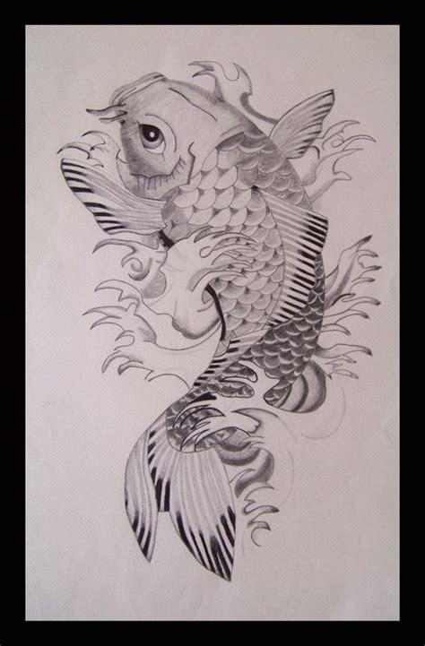 tatto ikan koi hitam putih 600px