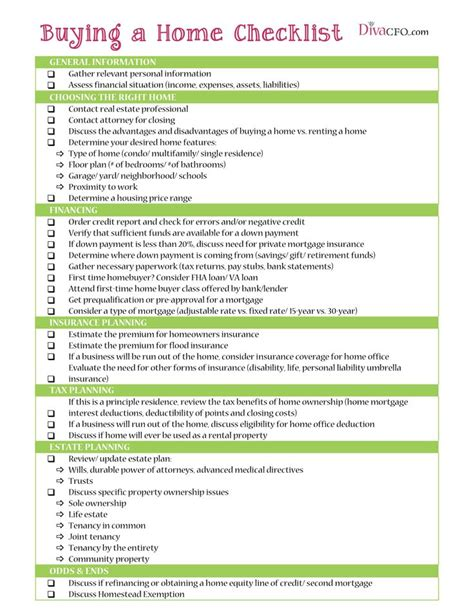 house checklist buying a home checklist goal first house pinterest