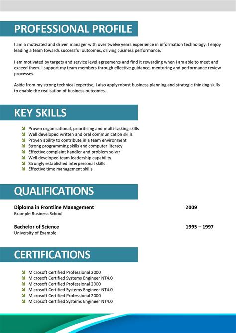 best resume format doc professional profile template doc c45ualwork999 org