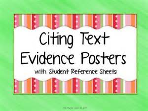 Citing text evidence posters and student reference sheets