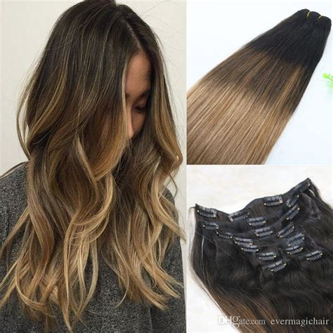 medium brown with blonde ombre 8a 120gram clip in human hair extensions balayage ombre