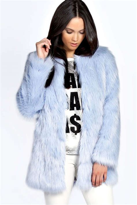 Top With Faux Fur Detail On The Sleeves boohoo womens brody longline plush faux fur coat top sleeves hip length ebay