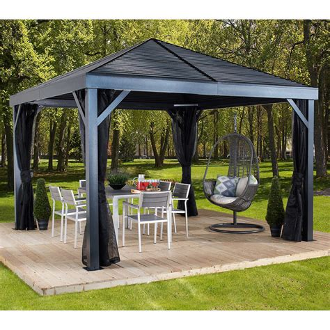 12x12 gazebo 82 cedar wood with aluminum roof gazebo costco
