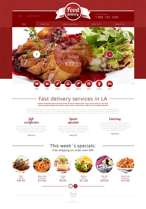 templates for catering website catering responsive website template 49565