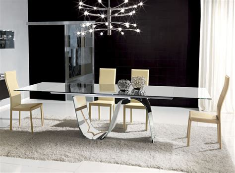 Modern Glass Dining Room Tables by Unico Rectangular Infinity Extending Glass