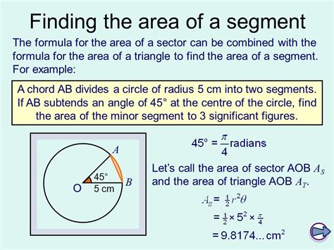 area of a section of a circle formula c2 arcs sectors and segments ppt video online download