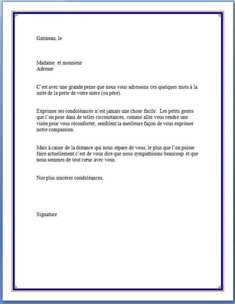 Modèles De Lettres De Condoléances Exemple De Lettre Pour Condol 233 Ances Covering Letter Exle