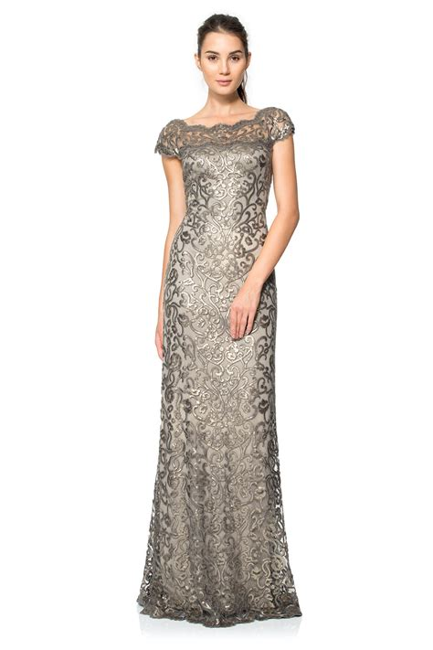 Paillette Embroidered Lace Off Shoulder Gown   Tadashi Shoji