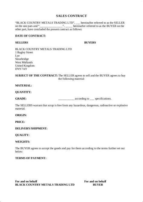 free sales contract template 9 sales contract sles templates free pdf word