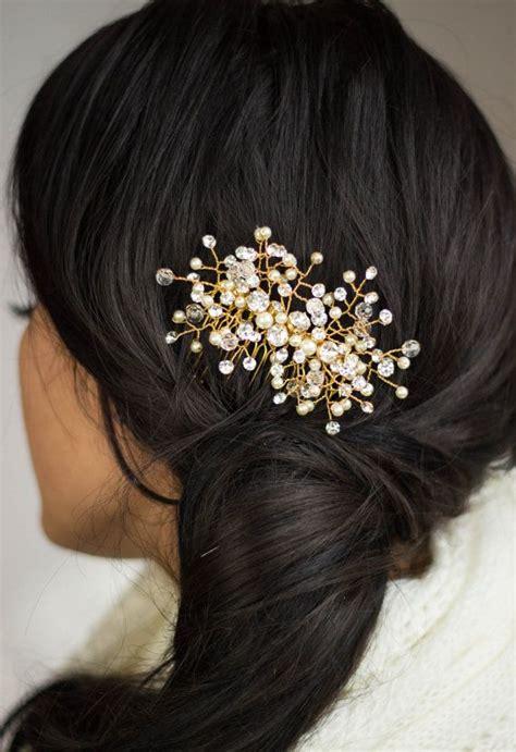 Hairpiece Pesta Hairpiece Headpiece wedding bridal haircomb accessories wedding hairpiece gold headpiece accessory gold rhinestone