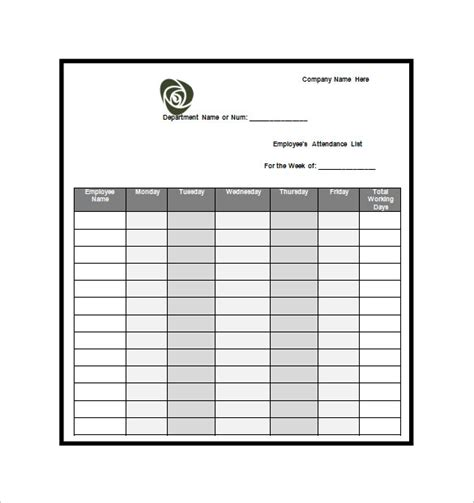 attendee list template attendance list template 10 free word excel pdf