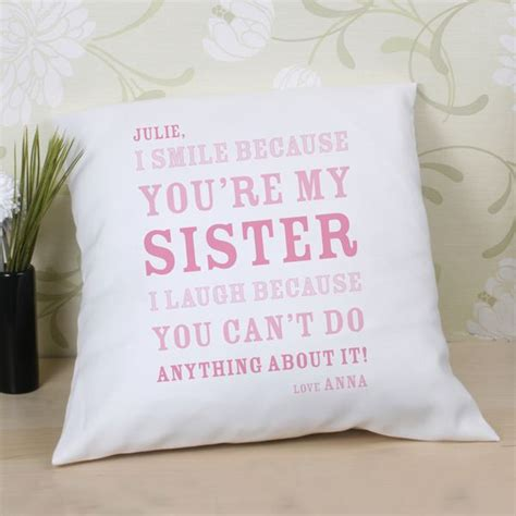 personalised sister smile cushion the gift experience