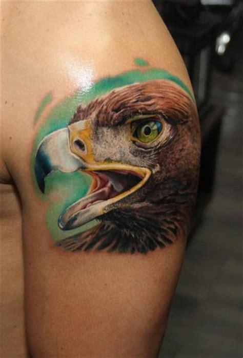 biomechanical eagle tattoo shoulder realistic eagle tattoo by carlox tattoo