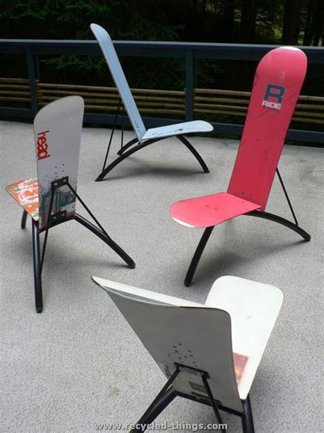 ski bench recycled snowboard ideas recycled things