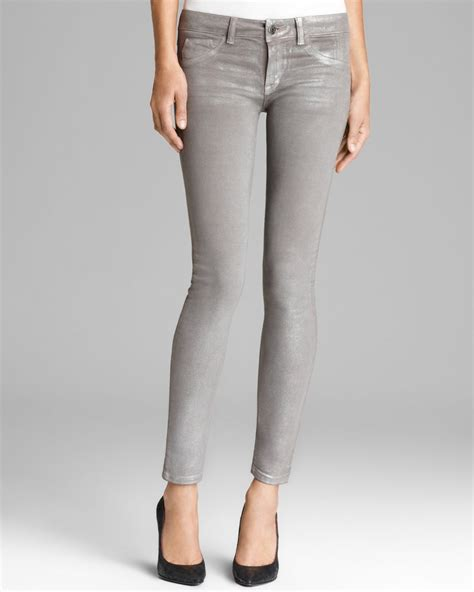 design lab jeans sold design lab jeans doe frosted skinny in silver in