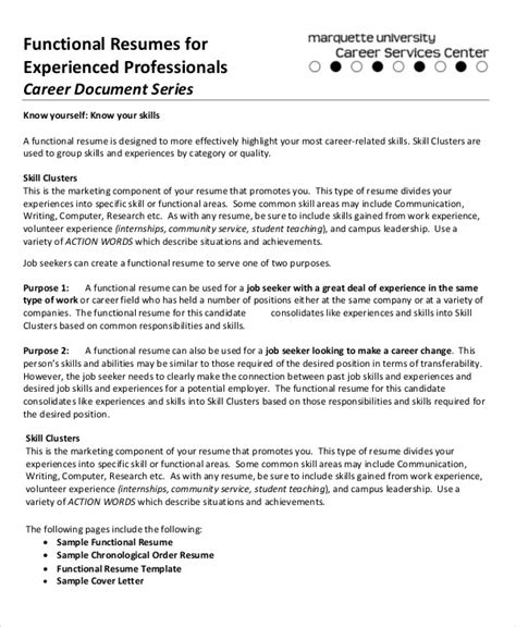 Resume Template For Experienced Professionals by 10 Functional Resume Templates Pdf Doc Free