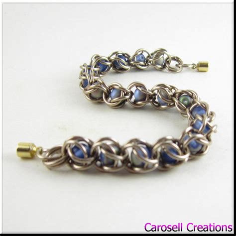 captured bead chainmaille captured bead chain maille bracelet blue satin by