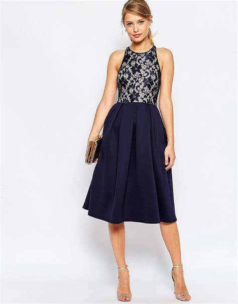 Lace Midi Cocktail Dress asos navy lace top skater midi dress size 6 to 16 ebay