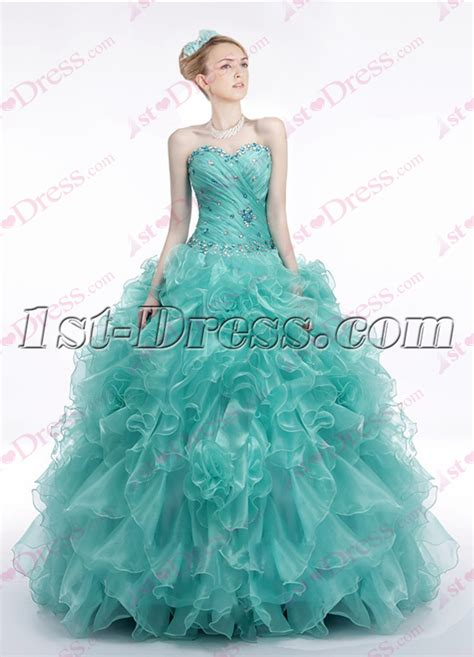 Chic Teal Blue Ruffles 2017 Quinceanera Dress:1st dress.com