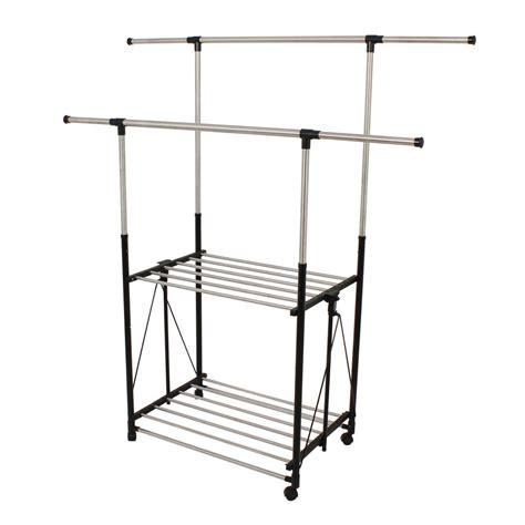 rolling garment rack honey can do dual bar adjustable steel rolling garment