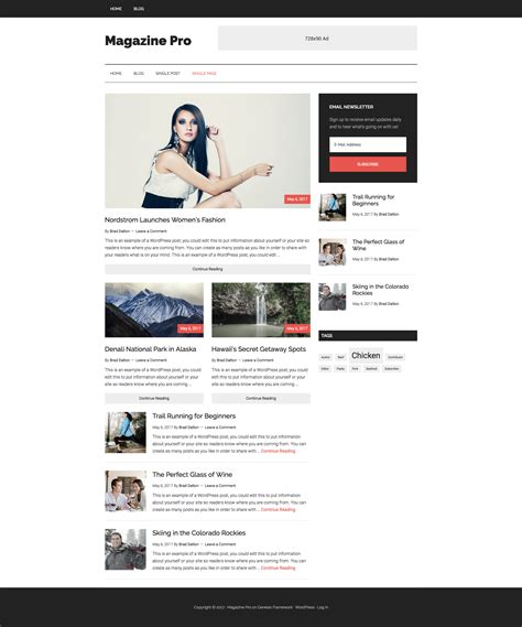 use magazine pro themes front page as template on single