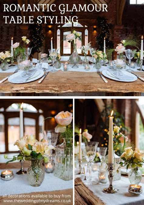 romantic glamour wedding ideas table decorations from the