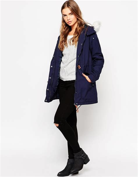 Vero Moda Parka by Vero Moda Parka With Faux Fur In Blue Lyst