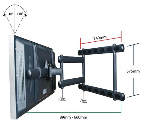 swing arm bracket for tv premier mounts am300 black tv wall brackets