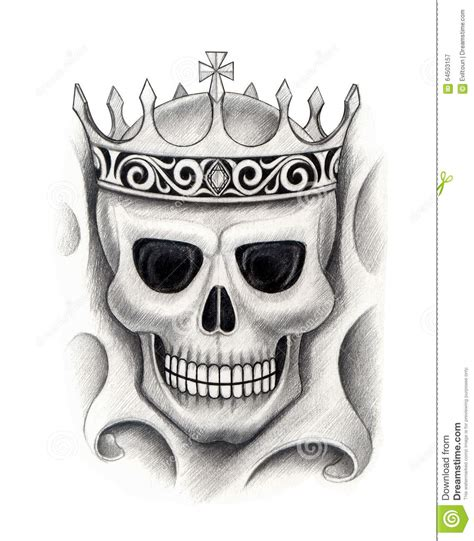 art skull king tattoo stock illustration image 64503157