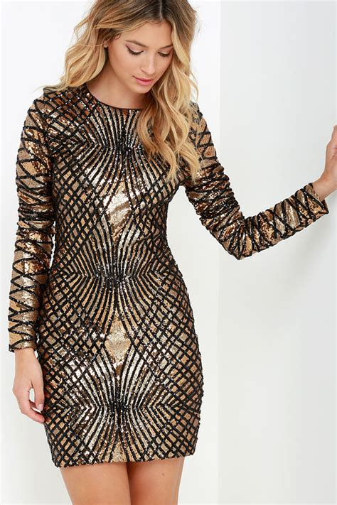 Maxi Tiesquare black and gold dress sequin dress sleeve