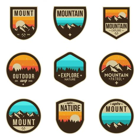 the color badge coloured adventure badges vector free