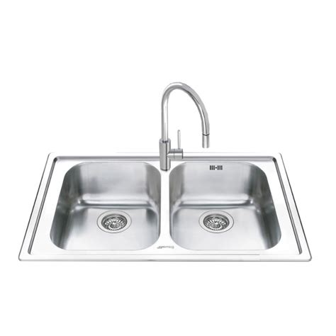 smeg kitchen sinks smeg leh862 kitchen sink 2 bowls brushed stainless steel