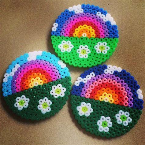perler bead coasters rainbow coaster set perler by missy kiwi perler