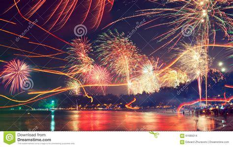 feiert thailand new year fireworks tropical resort stock image cartoondealer