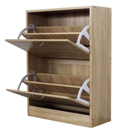shoe rack with storage foxhunter wooden shoe storage cabinet 2 drawer footwear