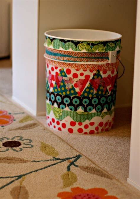 Decoupage Trash Can - decoupage fabric trash can home and garden