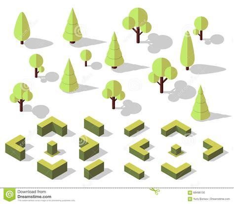 landscape design elements vector illustration isometric trees elements stock vector illustration of