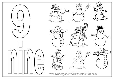 1 9 numbers colouring pages